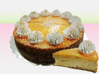 Pumpkin cheesecake with walnuts